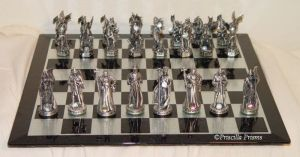 Fantasy pewter and crystal dragons CHESS SETS!