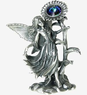 Sunflower and Crystal Fantasy Pewter Fairies from the TUDOR MINT
