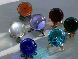 Crystal clear balls and gemstone colors for scrying and gazing